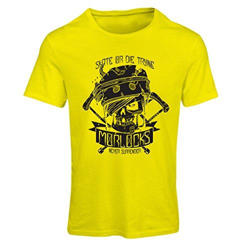 lepni.me N4605F Camiseta Mujer Skate or Die Trying (Medium Amarillo Multicolor)