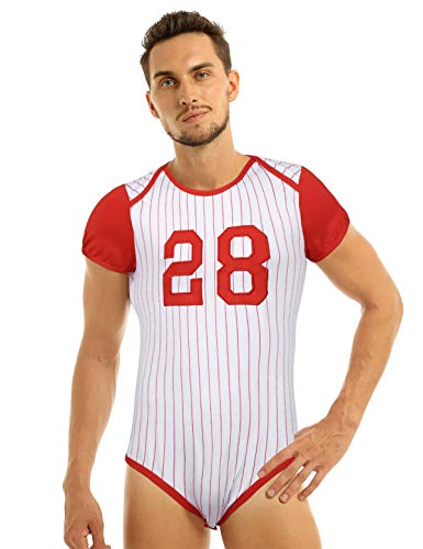dPois Herren Sportlicher Bodysuit Erwachsene Strampler in Baseball-Stil Kurzarm Gestreifter Einteiler Body Nachthemd Unterwäsche Rot XXL