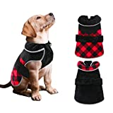 Dasior Dog Winter Jacket Clothes Plaid Coat for Cold Weather Pet Warm Clothing M