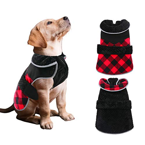 Dasior Dog Winter Jacket Clothes Plaid Coat for Cold Weather Pet Warm Clothing S