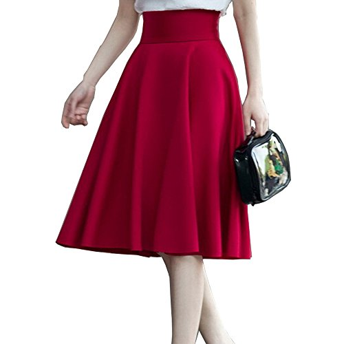 Hohe Taille gefalteten Rock Einfarbig Damen - Faltenröcke Midi Maxi Lange Röcke Mode Solid Color Rock Party Röcke (S / (Taille:64-68 cm,Länge:120 cm), Rotwein)