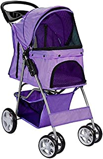 Paws & Pals 4 Wheeler Elite Jogger Pet Stroller Cat/Dog Easy to Walk Folding Travel Carrier