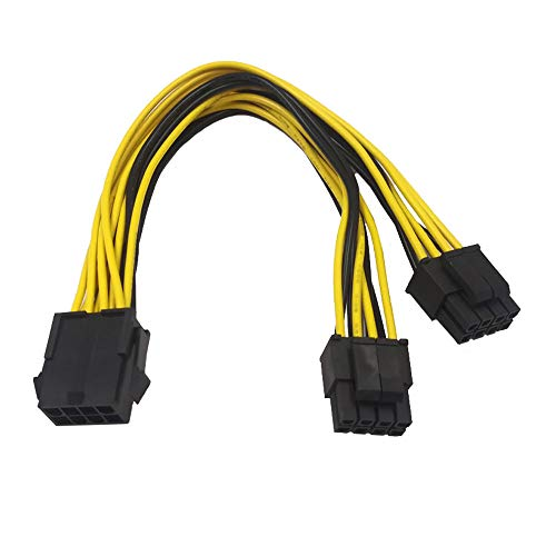 ZkeeShop CPU 8 Pin Female to Dual 8 Pin (4+4) Male Power Supply Converter Adapter Extension Cable for Motherboard 8inch(20cm) (1PCS)