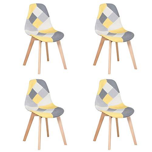 Juego de 4 Sillas de Comedor Sillas de Patchwork de Colores con Patas de Madera Sillón Escandinavo para Cocina, Sala de Estar, Cafetería (Amarillo)
