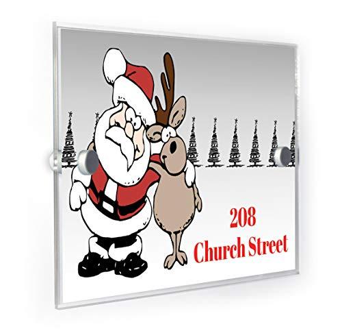 Premium Home Plaques Plaque de numéro de Maison Personnalisable avec Inscription en Anglais « Père Noël et Rudolph Hugging »