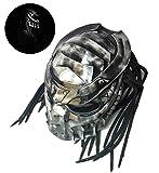 Moto Casque intégral, Fer Creative Casque Guerrier Predator Casque Anti-buée personnalité Cheveux Braid et lumière LED Rouge D.Ö.T de sécurité certifié (Noir) L/XL (56-62cm),L