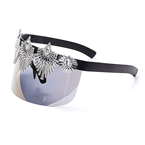 AMFG Gafas De Sol De Visera Solar De Una Pieza Para Hombres Y Mujeres De Moda Gafas De Parabrisas Hechas A Mano (Color : C)
