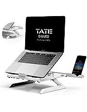 TATE GUARD Laptopstandaard verhoging voor de tafel in hoogte verstelbaar draagbaar licht geïntegreerde mobiele telefoonstandaard notebook tablethouder bureau dienblad houder geventileerde, ergonomische hoogte wit
