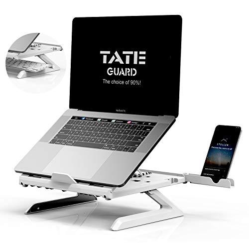 TATE GUARD Laptopständer Halterung Eingebaute,Faltbare Beine und Handyhalterung,9-Fach höhenverstellbare Laptophalterung,Tragbare Belüftung Ergonomische Unterstütung,für Tablet/Notebook Perlweiss