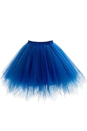 50er Kurz Retro Petticoat Tutu Rock Reifrock Ballett Tanzkleid Unterkleid Rockabilly für Kostüm Party Blau OneSize