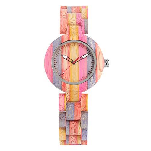 LKNNF Damen Holzuhr, Leuchtzeiger Display Holz Quarz Uhr Charmante Bunte Bambus Holz Armreif Uhren