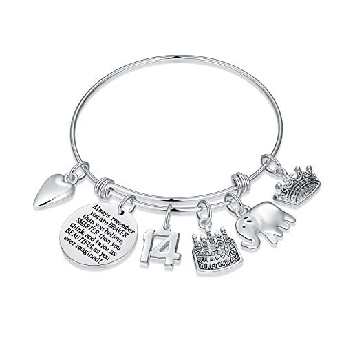 M MOOHAM 14th Birthday Gifts for Girls Bracelets, 14 Year Old Girl Gifts Elephant Charm Bracelets, You are Braver Than You Believe Stronger Than You Seem Smarter Than You Think Inspirational Bracelet