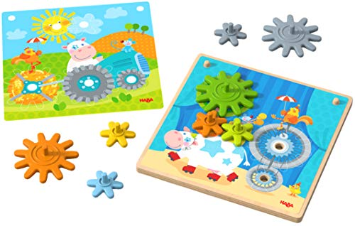 HABA 303869 - Zahnradspiel Tiere unterwegs | Motorikspielzeug mit 4 verschiedenen Hintergrundbildern und bunten Zahnrädern zum Zusammenstecken | Spielzeug ab 2 Jahren