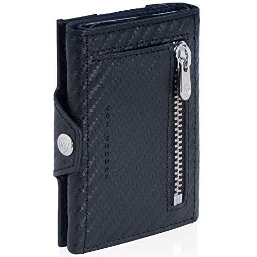 VON HEESEN Slim Wallet mit Münzfach - Mini Kartenetui mit RFID Schutz - Leder Geldbörse Herren klein - Geldbeutel Männer Kreditkartenetui Geld Clip Portemonnaie Portmonee (Carbon)