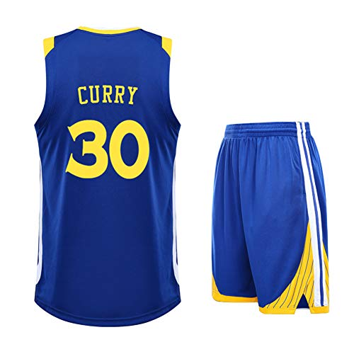 # 30 Stephen Curry Warriors Basketball Jersey - Herren T-Shirts Shorts Herren Weiß Anzug Unisex Training Wear Kinder Sportswear Fans Sweatshirt, Kinder-Blue-S