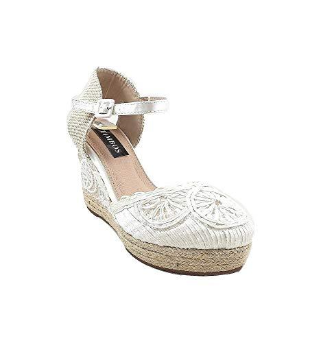 Timbos Zapatos - 121988 Cuña Novia Esparto, para Mujer, Color Blanco, Cierre...
