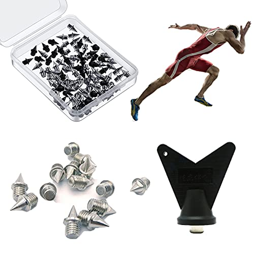 110 Pcs 1/4 inch Track Spikes Replacement for Track Shoes Hard Steel Pyramid Track Spikes for Running Hiking High Jumping Cross Country with Storage Box and Wrenc55 Pcs Silver and 55 Pcs Black