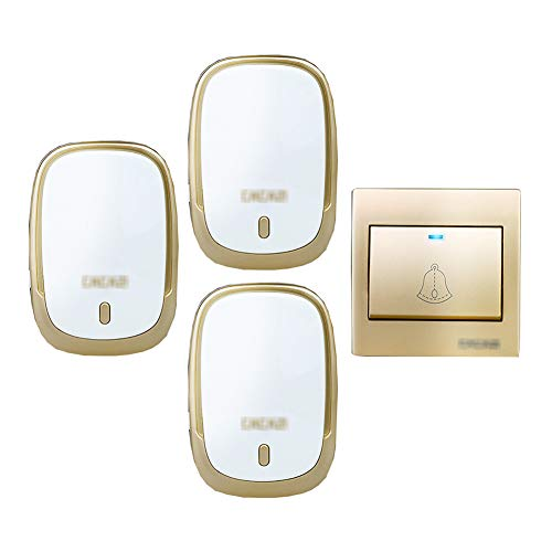 Muur plug-in draadloze deurbel, IP44 waterdichte deurbel met 1 drukknop en 3 plug-in ontvanger 4 instelbare volumeniveaus en 36 klokken,A