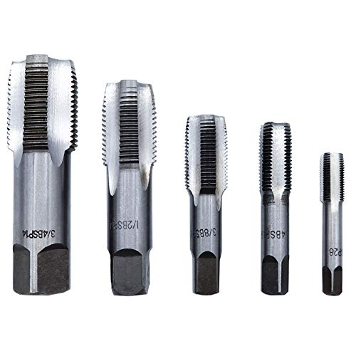 OBPSFY 5PCS BSP Pipe Tap Set,Bearing Steel Threading Taps Tool for clean/re-thread damaged/Jam Pipe threads(1/8