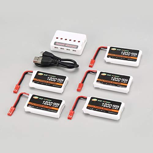 5pcs XF Power 3.7V 1200mAh 25C Lipo Batería Conector JST con Cargador USB de 6 Puertos para Syma X5HC X5HW Drone Quadcopter - Blanco y Negro