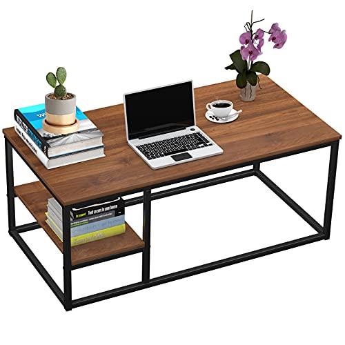 Tavolino da salotto con mensola, moderno e con funzione di conservazione, tavolo rettangolare 102 × 50 × 40 cm con struttura in metallo (noce)