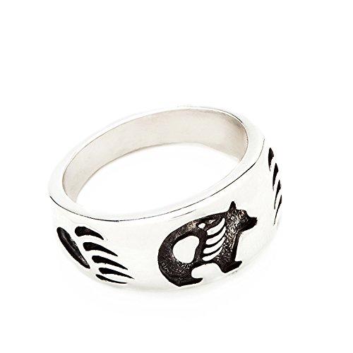 Indianerschmuck Ring Grizzly Bär Bärenring Westernschmuck Indianerring Sterling Silber Navajo Style Schmuck CR908 (60 (19.1))