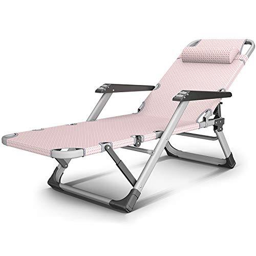 RPOLY Klappbarer Liegestuhl, Atmungsaktiv Liege Freizeitliege Relax-Liegestuhl mit Verstellbarem Gartenliege Sonnenliege Outdoor Liegestuhl Garten Strandliege,Pink_178X25CM/70X10inch