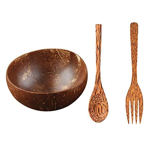 Cuenco de coco natural, decoración de frutas, ensalada, fideos, cuenco de madera para arroz, decoración creativa para hornear, cocinar, servir (color: un juego)