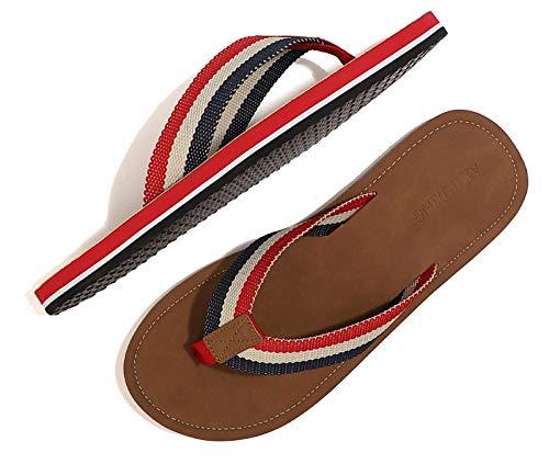 ARRIGO BELLO Chanclas Hombre Flip Flops Verano Playa Piscina Sandalias Al Aire Libre Vacaciones Ducha Gimnasio Cómodo Zapatos Talla 40-46 (Rojo marrón, Numeric_42)