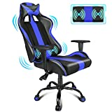 PC Gaming Chair with Massager Blue Racing Style Office Chair Massage Computer Video Game Chairs E-Sports Chair with Adjustable Height Seat, Headrest and Lumbar Pillow for Adults/Teens/Kids/Boys/Men