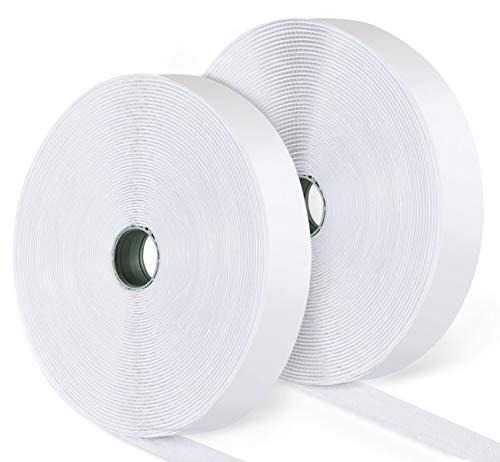 ilauke 15M Hook y Loop Auto Adhesivo Cinta Rollo Hook and Loop Tape Gancho y Bucle(Blanco)