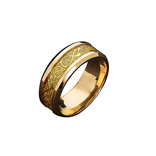 Positive Costume Celtic Dragon Titanium Stainless Steel Ring Wedding Band Rings for Men Jewelry Size 5-13 (Golden, 5)