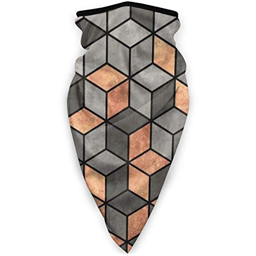 IZOU Concrete And Copper Cubes Neck Gaiter Face Mask,Multifunction for Man Women seasons Magic Scarf Bandana Balaclava