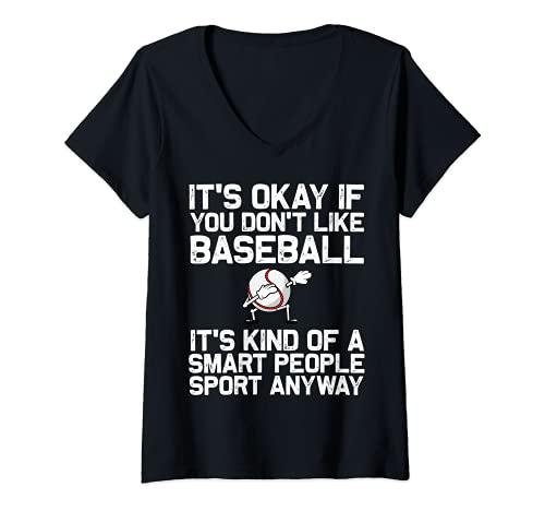 Womens Cool Baseball For Men Women Pitcher Bat Ball Softball Sports V-Neck T-Shirt