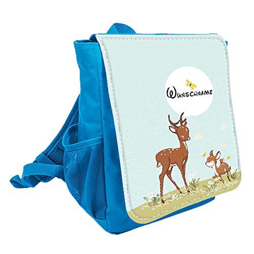 wolga-kreativ Kleiner Rucksack Kindergartentasche REH Familie Kinderrucksack Kindergartenrucksack Mädchen Jungs Kinder mit Namen Tagesrucksack Kindergarten Kindertasche