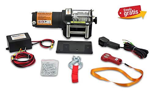 Winchpro - Cabrestante Eléctrico 12V 1360kg/3000lbs, 12m De Cuerda De Acero, 2 Mandos A Distancia , Placa De Montaje
