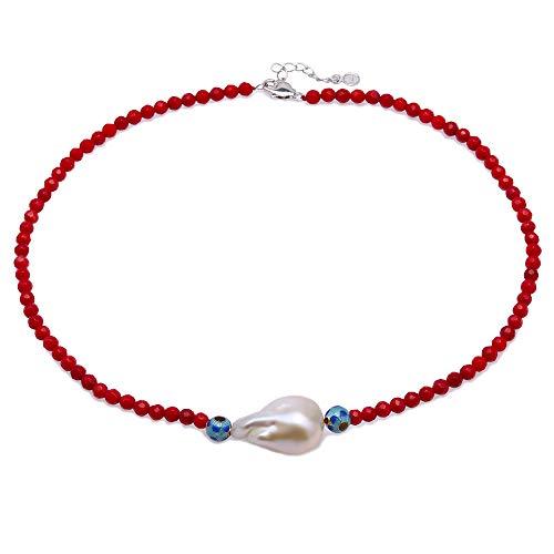 JYX korallenkette halskette koralle rot halskette koralle rot 5 mm runde rote Koralle mit 20 × 28 mm weißen Barock-Süßwasserperlen Anhänger Halskette