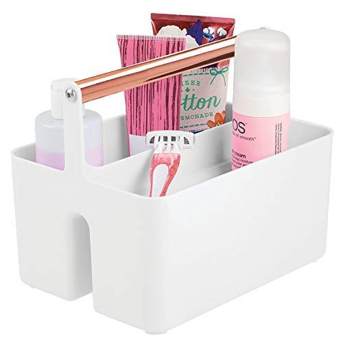 mDesign Caja organizadora para Cuarto de baño – Cesta con asa para el Almacenamiento de Productos cosméticos – Organizador de baño con 2 Compartimentos – Blanco y Dorado Rosado