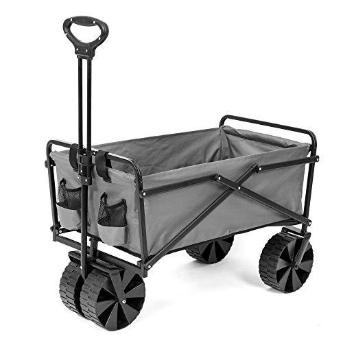 Seina Manual 150 Pound Capacity Folding Utility Beach Wagon Outdoor Cart, Gray