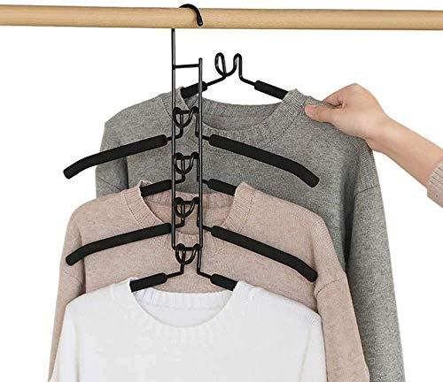 Kleiderbügel, mehrschichtig, rutschfest, für Kleiderschrank, 5 in 1, für Erwachsene, aus Metall (Schwarz, 2 Stück)