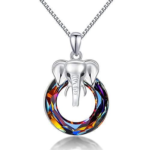 Elefanten Kette, Halskette Elefant für Damen Elefanten Anhänger mit Kristall Tier Elefant Schmuck Elefanten Geschenke für Frauen Mädchen Oma Familie Mama