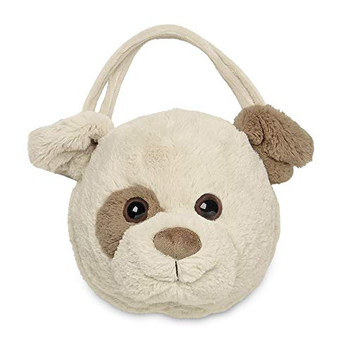 Bearington Spot Carrysome, Girls Plush Beige and White Puppy Dog Stuffed Animal Purse, Handbag 7 inches