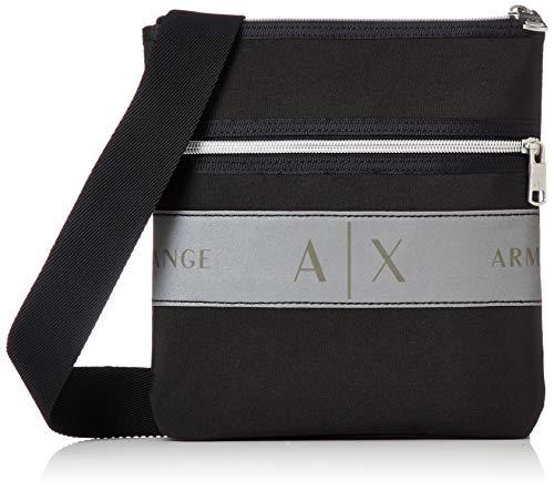 Armani Exchange Herren Small Flat Crossbody Bag Business Tasche, Schwarz (Black), 10x10x10 cm