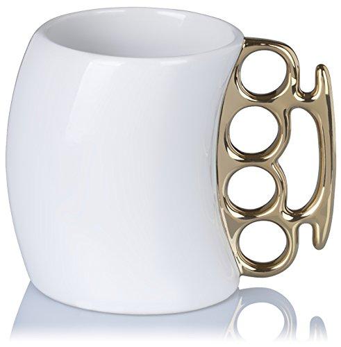 Grinscard Keramik Tasse mit Faustring Henkel - Weiß Kaffee Faust Design 0,35l - Gadget Kaffeetasse zum Verschenken