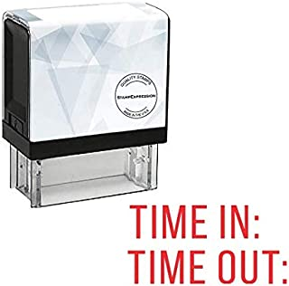 StampExpression - TIME in TIME Out Office Self Inking Rubber Stamp - Red Ink (A-5785)