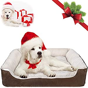 SlowTon Warming Dog Bed, 31.5 Inch Machine Washable & Dryer Pet Sleeper Couch Sofa,Ultra-Soft Breathable Cotton Cozy Calming Cushion with Non-Slip Bottom for Medium Small Dog