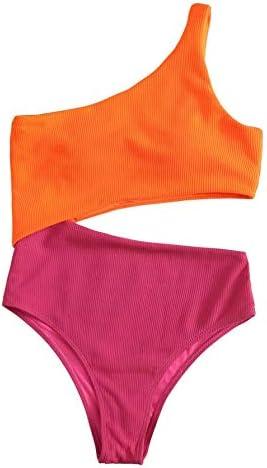 Floerns Women s Colorblock Bathing Suits One Shoulder Cutout One Piece Swimwear Monokini Multi product image