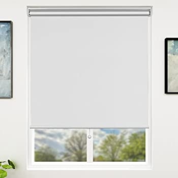 SUNFREE Blackout Window Shades Cordless Window Blinds with Spring Lifting System for Home & Office 36 x 72 Inch White