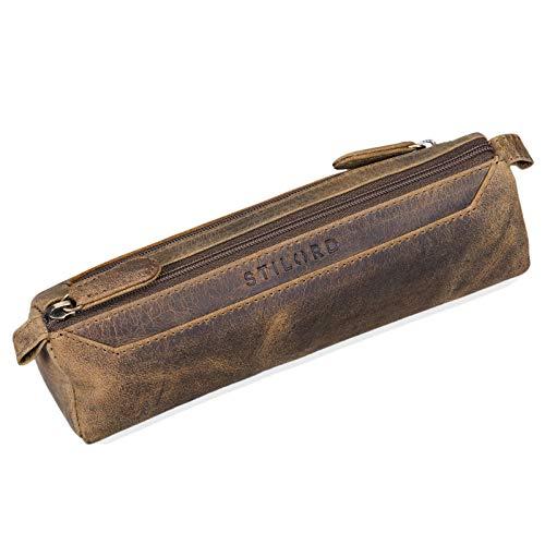 STILORD 'Jim' Estuche o Bolsa para lápices y bolígrafos de Cuero Portatodo Escolar Redondo para Hombres y Mujeres Cartuchera de Piel auténtica, Color:marrón - Medio