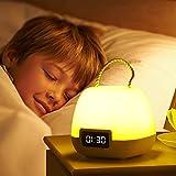 KAMEUN Lamparas de Mesita de Noche, 10 Modos Luz Nocturna Niños LED Inteligente, Lámpara LED Recargable Portátil del Niños para Niños, Oficina, para Camping(Amarillo-Blanco-Cálido